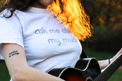 """Ask me about my music"" shirt / ""Music is enough"" tattoo"